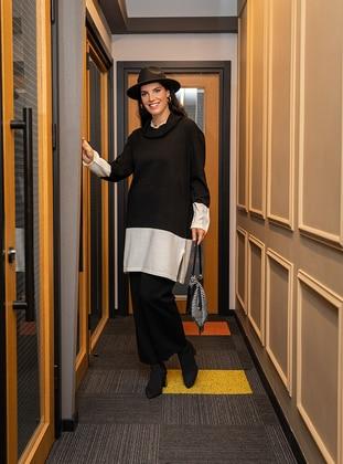 Ecru - Black - Polo neck - Unlined - Acrylic - Triko - Plus Size Suit