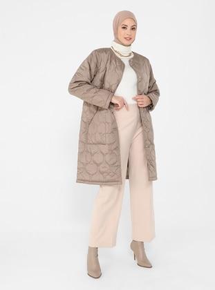 Mink - Fully Lined - Crew neck - Coat
