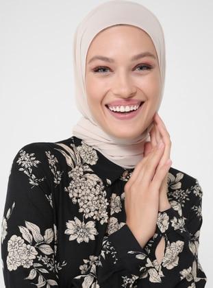 White - Ecru - Black - Floral - Point Collar - Unlined - Modest Dress