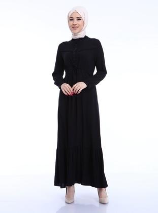Black - Button Collar - Modest Dress