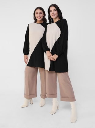 Black - - Crew neck - Plus Size Tunic