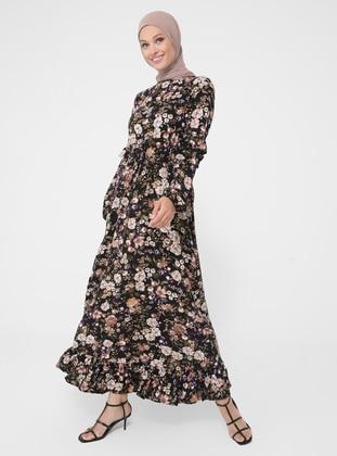 Brown - Floral - Crew neck - Unlined - Viscose - Modest Dress