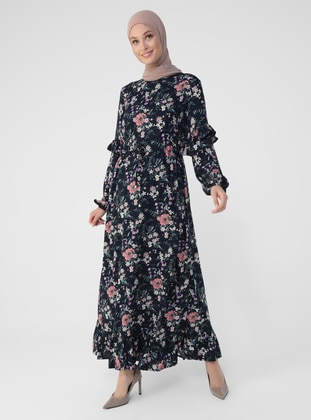 Navy Blue - Pink - Floral - Crew neck - Unlined - Viscose - Modest Dress
