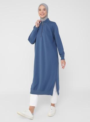 Polo neck - Navy Blue - Cotton - Sweat-shirt