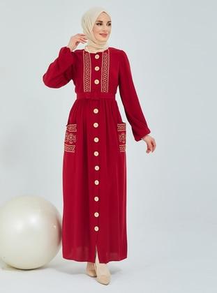 Maroon - Maroon - Crew neck - Modest Dress