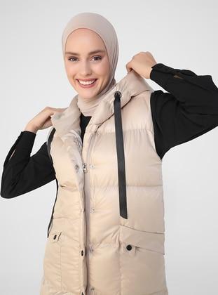 Beige - Fully Lined - Vest - Refka