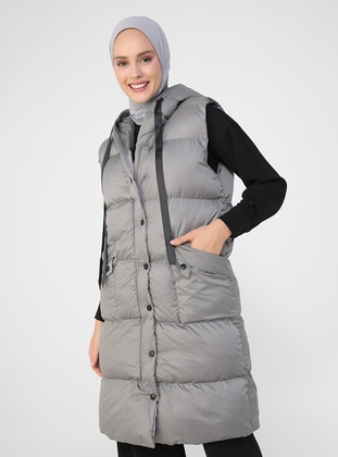 Gray - Fully Lined - Vest - Refka