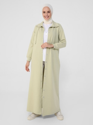 Sea-green - Unlined - Polo neck - Cotton - Topcoat