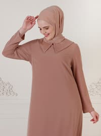 Mustard - Unlined - Crew neck - Modest Plus Size Evening Dress