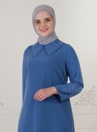 Dark Blue - Unlined - Crew neck - Modest Plus Size Evening Dress