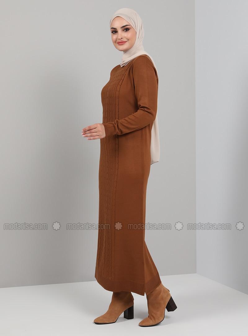 Cinnamon - Unlined - Crew neck - Knit Dresses