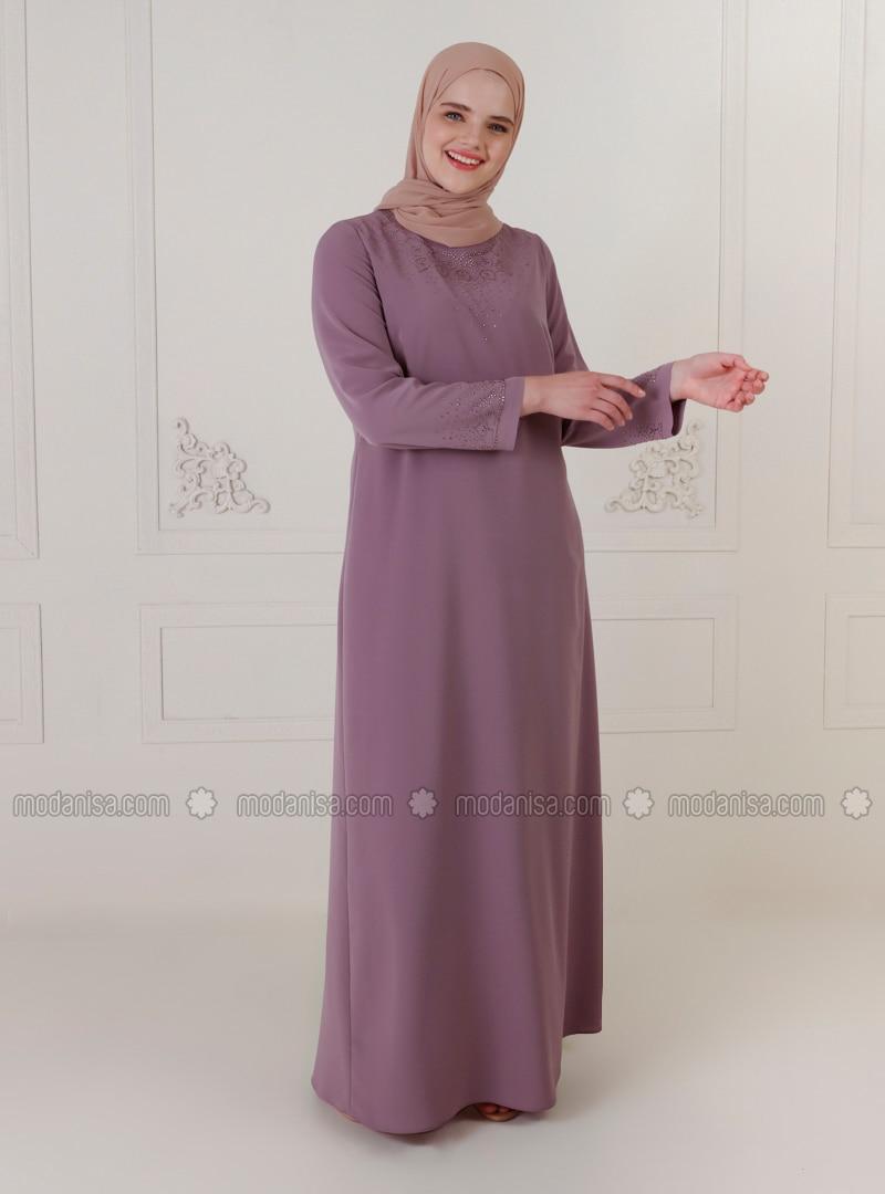 Dusty Rose - Unlined - Crew neck - Modest Plus Size Evening Dress