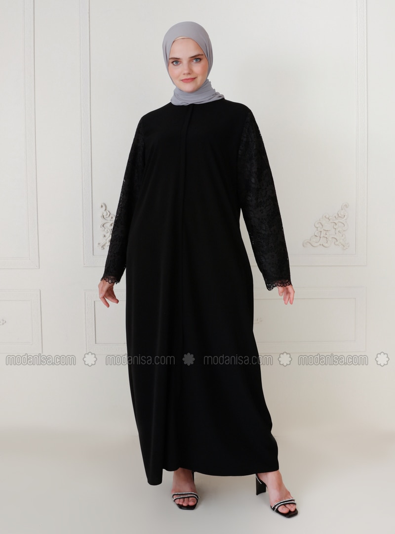 Black - Unlined - Crew neck - Modest Plus Size Evening Dress