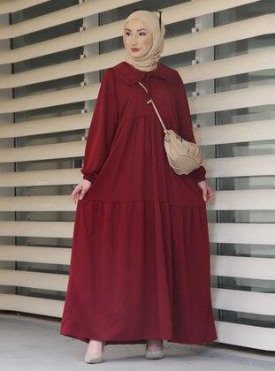 Maroon - Round Collar - Unlined - Modest Dress