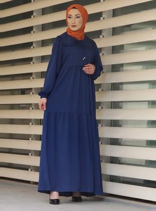 Indigo - Round Collar - Unlined - Modest Dress