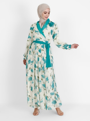 Mint - Floral - V neck Collar - Fully Lined - Modest Dress