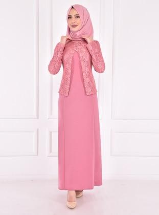 Powder - Unlined - Crew neck - Modest Evening Dress