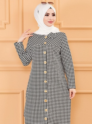 White - Black - Houndstooth - Unlined - Point Collar - Topcoat - Tofisa