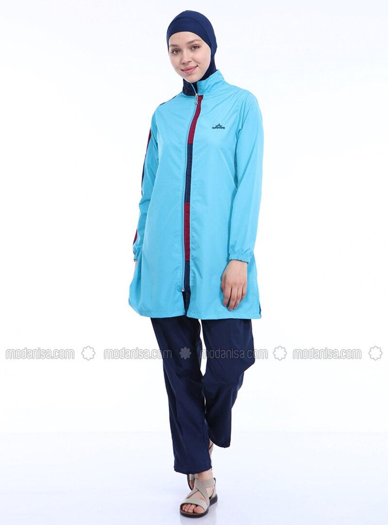Turquoise - Unlined - Full Coverage Swimsuit Burkini