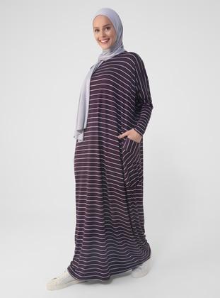 Purple - Stripe - Crew neck - Unlined - Modest Dress