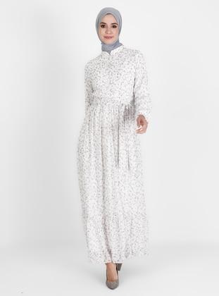 Ecru - Floral - Crew neck - Fully Lined - Modest Dress