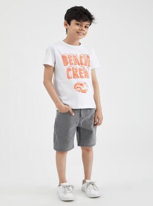 Gray - Boys` Shorts - DeFacto