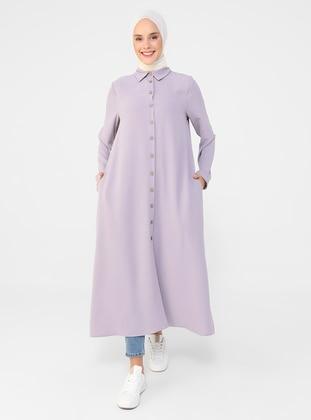 Lilac - Point Collar - Viscose - Tunic