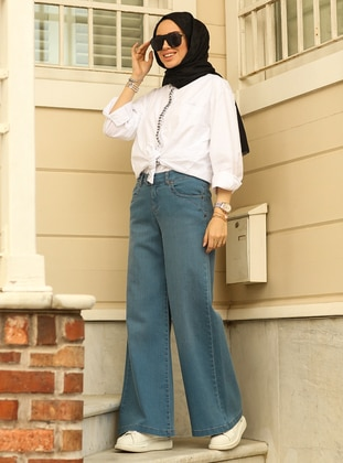 Dark Blue - Denim - Cotton - Pants