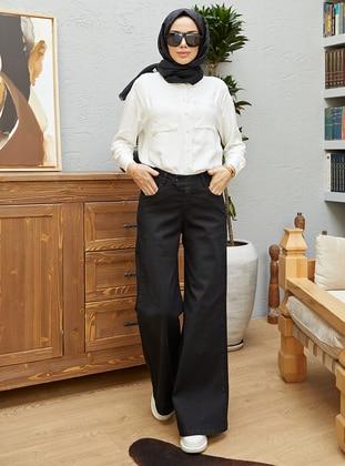 Black - Denim - Cotton - Pants - Neways