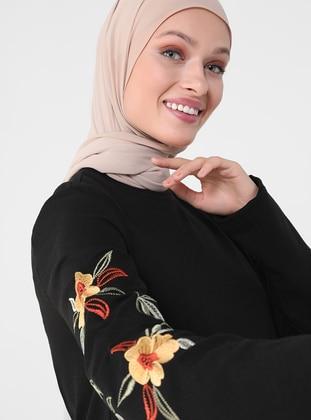 Black - Crew neck - Unlined - Cotton - Modest Dress