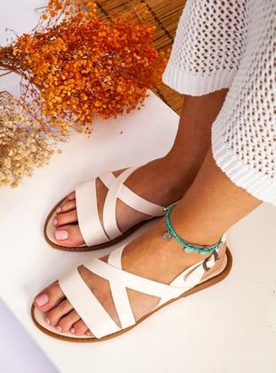 Beige - Sandal - Slippers - Ayakkabı Havuzu