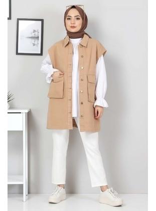Camel - Fully Lined - Crew neck - Vest