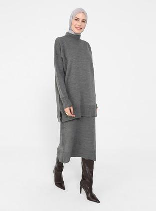 Antrasit Melanj - Polo neck - Unlined - Knit Tunics
