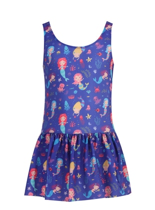 Multi - Crew neck - Purple - Girls` Swimsuit - Adasea