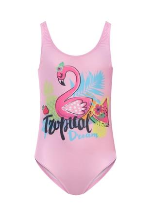 Multi - Crew neck - Pink - Girls` Swimsuit - Adasea