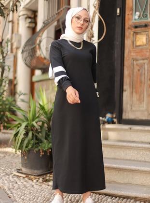 Black - Stripe - Unlined - Modest Dress - Tofisa