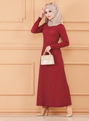 Maroon - Polka Dot - Crew neck - Unlined - Modest Dress