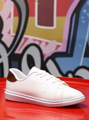 White - Brown - Sport - Sports Shoes