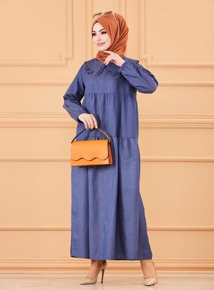 Navy Blue - Round Collar - Unlined - Cotton - Modest Dress