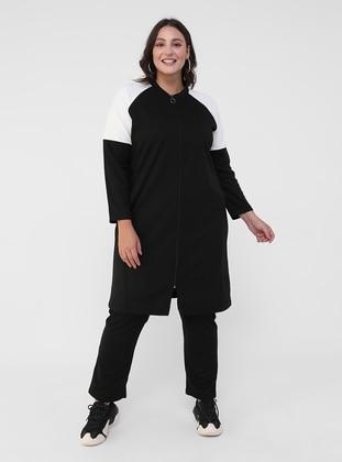 White - Black - Unlined - Viscose - Plus Size Suit