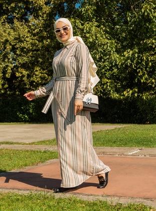 Ecru - Stripe - Point Collar - Unlined - Cotton - Modest Dress