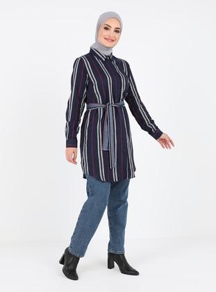 Indigo - Stripe - Point Collar - Cotton - Tunic