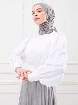 White - Ecru - Crew neck - Cotton - - Blouses