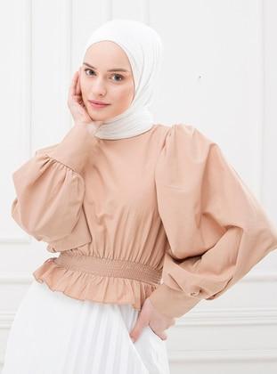 Camel - Crew neck - Cotton - - Blouses