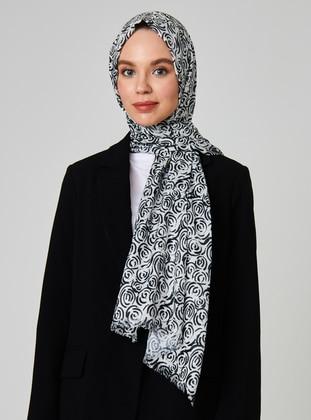 White - Black - Printed - Cotton - Viscose - Shawl