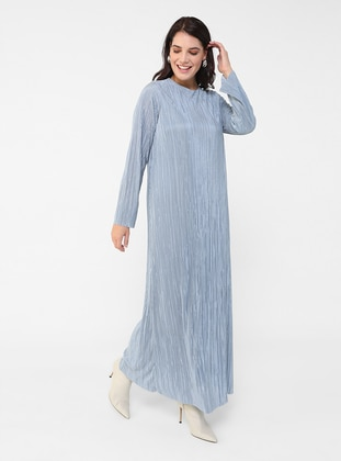 Ice Blue - Blue - Fully Lined - Crew neck - Plus Size Dress