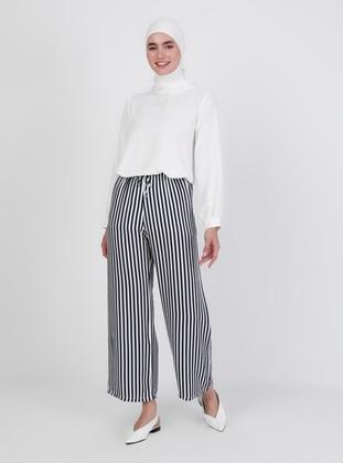 White - Navy Blue - Pants
