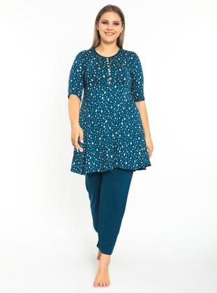 Light Blue - Multi - Plus Size Pyjamas