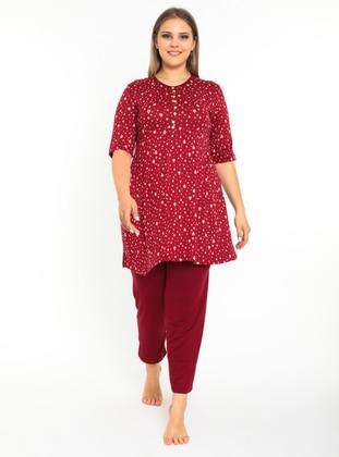 Maroon - Multi - Plus Size Pyjamas