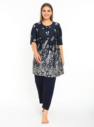 Navy Blue - Multi - Plus Size Pyjamas
